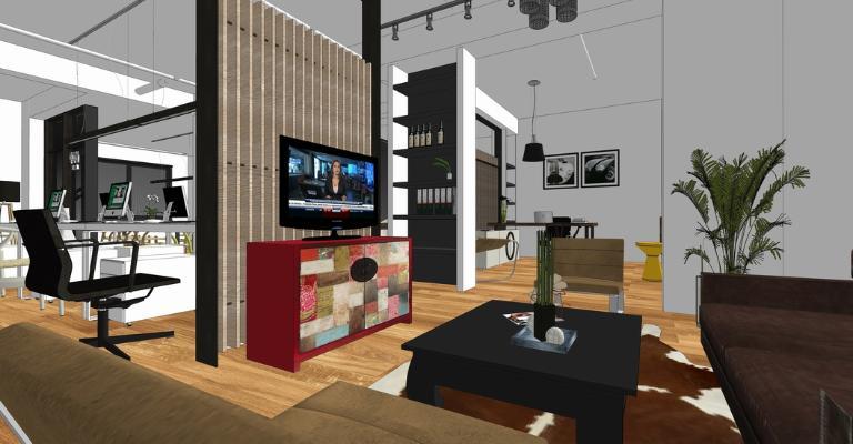 现代办公室室内设计SU模型【ID:345894230】