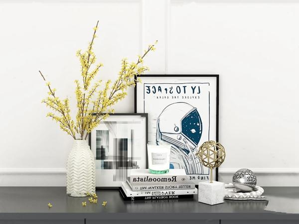 現代裝飾畫花瓶花卉擺件3D模型【ID:246658543】
