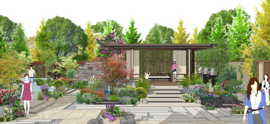 新中式庭院景觀SU模型【ID:546374914】