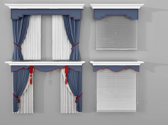 现代窗帘3D模型【ID:726230655】