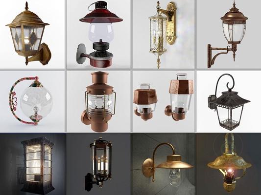 loft工業風格壁燈組合3D模型【ID:527994918】