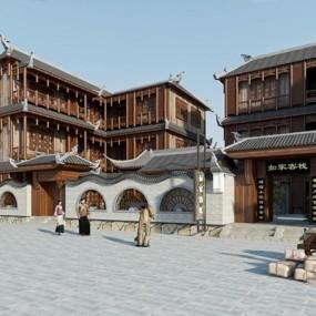 中式客栈建筑3D模型【ID:528019405】