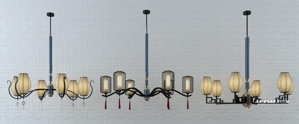 中式吊灯3D模型【ID:220615891】