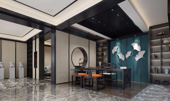新中式茶室会客室3d模型【ID:828324345】