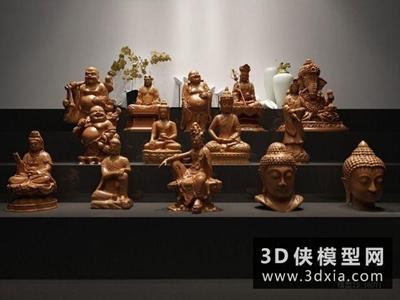 佛像组合国外3D模型【ID:929677716】