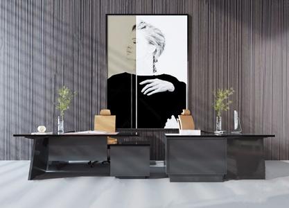 現代辦公桌椅組合3D模型【ID:120809953】