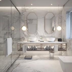 现代卫生间浴室3D模型【ID:128410674】