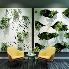 现代时尚壁饰垂直植物绿化墙花草桌椅组合3D模型【ID:427900098】