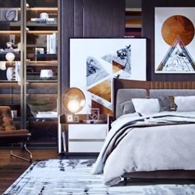 现代床具床头柜组合3D模型【ID:841631705】