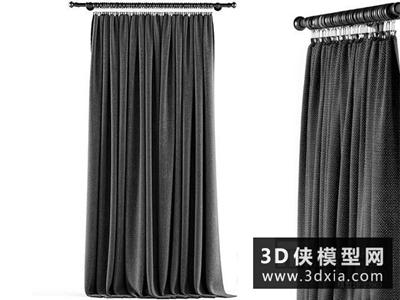 现代窗帘国外3D模型【ID:329360826】