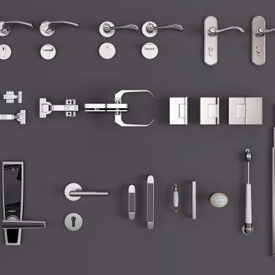 现代不锈钢拉手组合3D模型【ID:728467751】