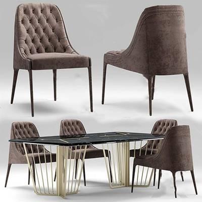 后现代桌椅组合3D模型下载【ID:319454616】