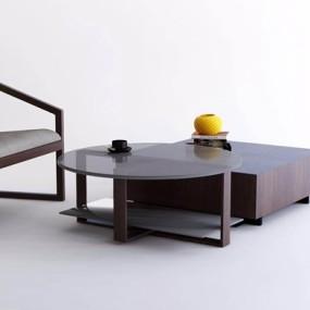 卡翡亚KAVIAR现代茶几单椅组合3D模型【ID:628050017】