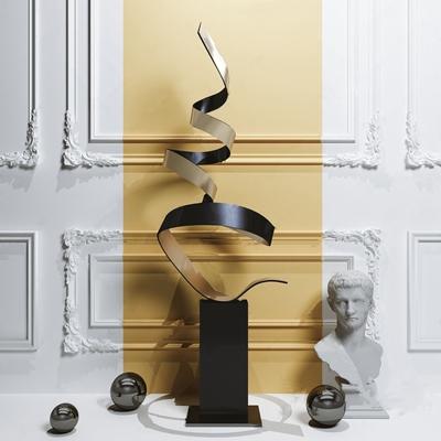 现代抽象雕塑3D模型【ID:334039180】