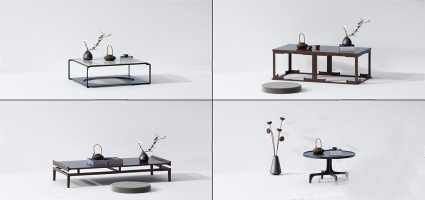 新中式茶几茶台桌几组合3D模型【ID:628052085】