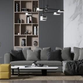 现代转角沙发组合 3D模型【ID:641632785】