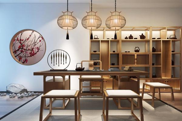 新中式茶桌椅组合3D模型【ID:327931634】