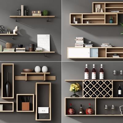 現代實木壁柜置物架擺件組合3D模型【ID:927836264】