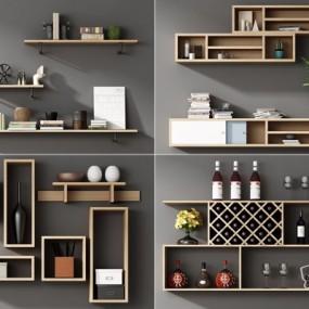 现代实木壁柜置物架摆件组合3D模型【ID:927836264】