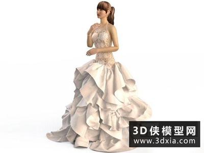 婚紗模特國外3D模型【ID:929347606】