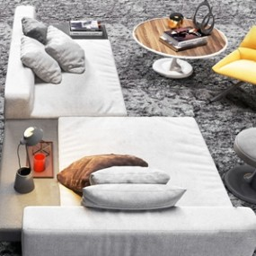 北欧休闲沙发茶几组合 3D模型【ID:641473763】
