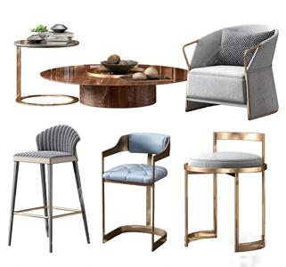 北欧吧椅单人沙发茶几3D模型【ID:932415281】