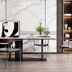 现代金属餐桌椅组合 3D模型【ID:841473895】