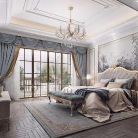 法式轻奢卧室主人房3D模型【ID:127772329】