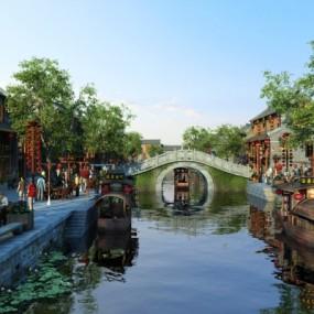 新中式古镇商业街外观3D模型【ID:527801600】