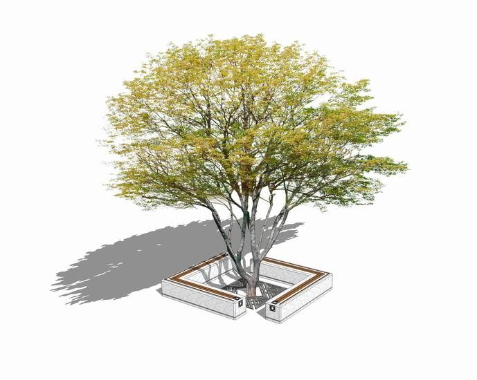 樹池坐凳組合SU模型【ID:136543950】