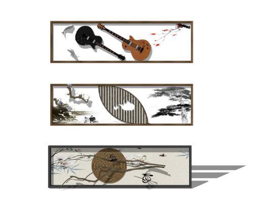 中式裝飾畫墻飾SU模型【ID:947253796】