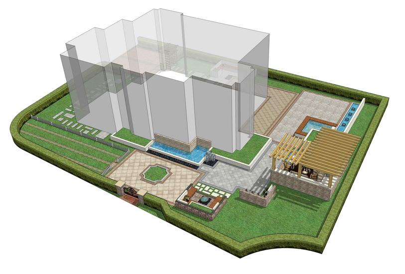 現代庭院景觀設計SU模型【ID:536543982】