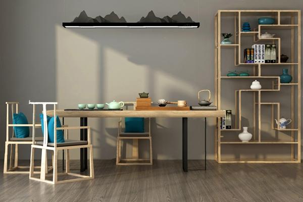 中式茶桌椅3D模型【ID:920612680】
