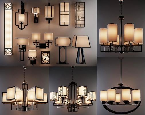 現代新中式吊燈酒店茶樓走廊壁燈臺燈組合3D模型【ID:928159800】