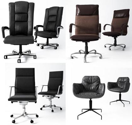 现代办公椅组合3D模型【ID:227881934】