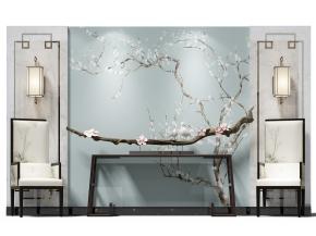 新中式背景墙端景台休闲椅组合3D模型【ID:927823161】