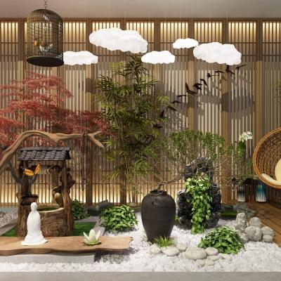 中式枯山水景觀園藝小品3D模型【ID:127769857】