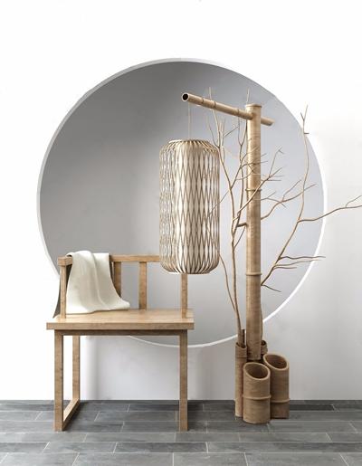 新中式椅子竹筒落地燈組合3D模型【ID:628298287】