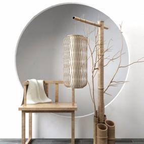 新中式椅子竹筒落地灯组合3D模型【ID:628298287】