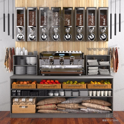 商品貨架咖啡機餐具食品組合3D模型【ID:828324323】