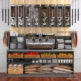商品货架咖啡机餐具食品组合3D模型【ID:828324323】