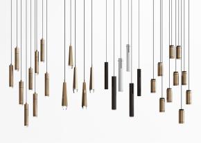 現代金屬吊燈組合3D模型【ID:527800811】