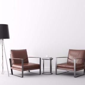 现代皮革休闲沙发椅圆几落地灯组合3D模型【ID:227783453】