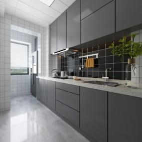 现代厨房3D模型【ID:127761481】