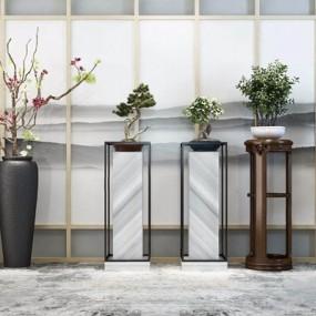 新中式盆栽组合3D模型【ID:327925803】