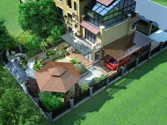 中式庭院3D模型下载【ID:819451824】