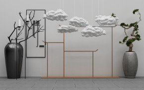 新中式云朵花瓶花卉盆栽组合3D模型【ID:927817137】