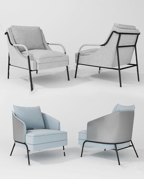 現代絨布休閑椅3D模型【ID:746657067】