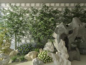 现代假山竹子3D模型【ID:127752871】