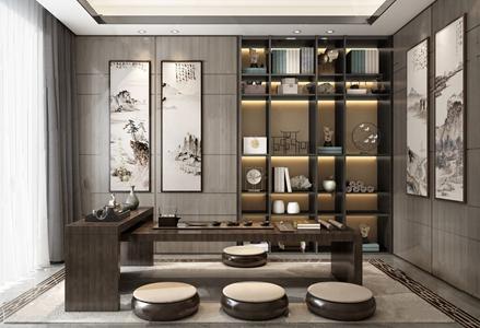 新中式茶室3D模型【ID:641356109】